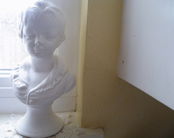 75% of this item, enter LOVE2016 at checkout. V i n t a g e Boy Bust, Ceramic Statue, Boy Statue, Vintage Home Decor, White, Boy