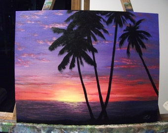 Sunset, Palm Tree, Ocean, Tropical Beach Original Landscape Oil Painting