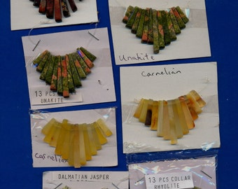 10 Gemstone Collars, 13 tines each,  Assorted, Lot 3280