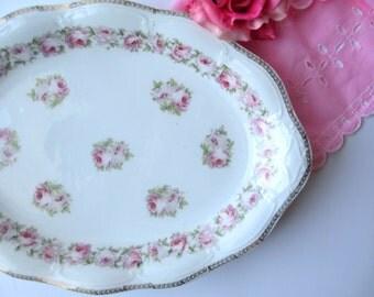 Large Serving Platter Antique Scherzer Bavarian Mignon Pink and Green Rose - Weddings Bridal