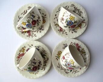 Vintage Vernon Kiln May Flower Teacup & Saucer Set of Four