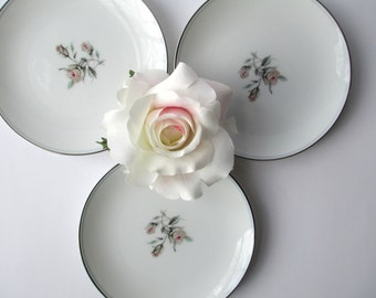 Vintage Noritake Bread and Butter Plates Margo White Pink Aqua Rose Set of Three