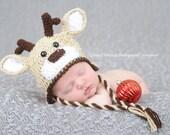 Boutique Crochet Deer Hat newborn -24 month girl boy