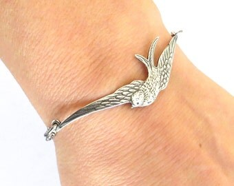 Steampunk Sparrow Bracelet or Anklet- Sterling Silver Ox Finish- Sparrow Bracelet