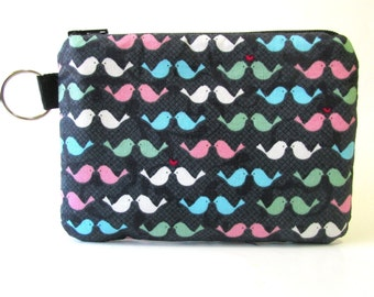 Handmade small pouch with zipper and key ring - Small love birds - coin purse - Ready to ship - Blue pink green and blue birds