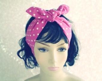 Pink and White Polka Dot Head Scarf, Polka Dot Head Wrap, Pink Headwrap, 1940s 1950s Head Scarf, Pink Head Scarves