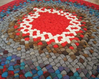 Mrsginthers' Ready To Ship Handmade Wool Teardrop Candy Apple Red / Turquoise Rug / Table Runner / Accent Piece from vintage wools