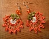 crochet earrings, orange flower, dangle