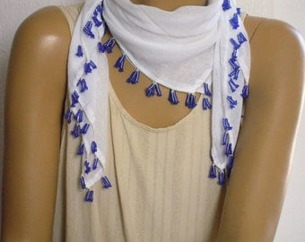 white cotton scarf with navy beaded trim
