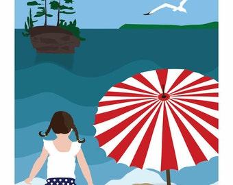 Lake Superior Shore Towns Series: Art Deco Washburn, WI Travel Prints - Free Shipping
