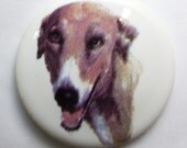 Greyhound Cabochon Porcelain Round Vintage from the 1960s White Ceramic With Dog Decal Cute Precious Collectible Souvenier Germany