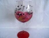 Wine glass-hand painted wine glass-painted barware-red wine glass