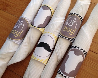 Mustache Baby Shower Napkin Wraps, Silverware wraps, Professionally Printed, Set of 20