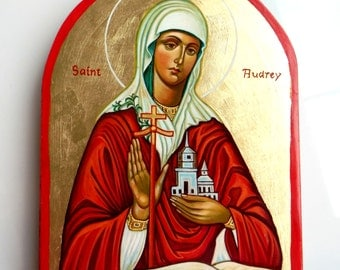 Saint Audrey, handpainted icon original, 8 by 6 inches, MADE TO ORDER