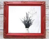 "RED FRAMED MIRROR Baroque Framed Red Vanity Mirror 31""x27"" Red Framed Bedroom Bathroom Mirror Vanity Mirror Bathroom Mirror"