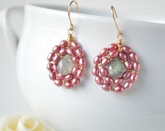 Pink Freshwater Pearl & Labradorite Earings