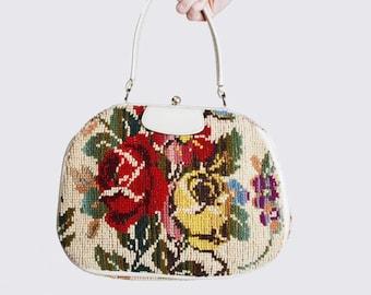 Vintage 60s FLORAL Carpet Bag / Boho Floral Purse / Floral Tote Bag