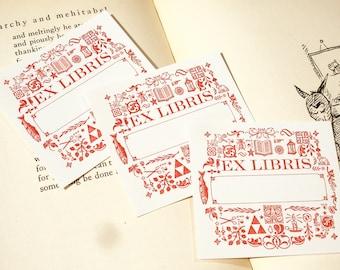 Ornaments - EX LIBRIS - Letterpress Bookplates - Set of 25