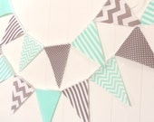 Wedding Banner Bunting, Garland Fabric Pennant Flags, Mint, Turquoise Grey, Gray Wedding Decor, Baby Nursery Decor, Birthday Party Garland