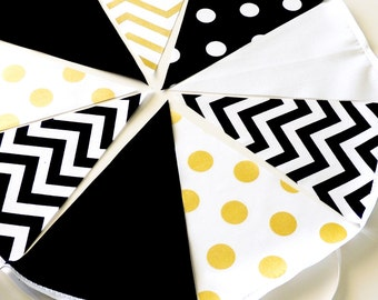 Metallic Gold, Black,, White, Fabric Banner Bunting, Pennant Flags, Glitter Gold Wedding Party Banner, Photo Prop, Bridal Decor, Birthday