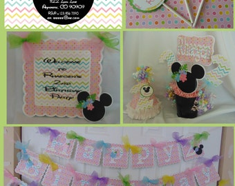 Minnie Mouse Luau pastel Ultimate Birthday Party Package
