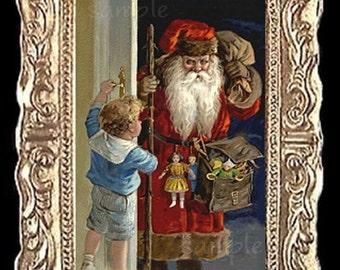 Santa Surprise Christmas Miniature Dollhouse Art Picture 6859