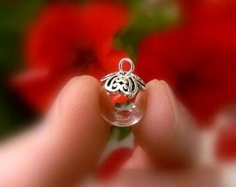 Glass Pendant w/ Sterling Silver FLOWER cap (.925/vials/pendants/small/empty/balls/miniature/bottles/globes/round/clear/caps/tops 10/12/14mm
