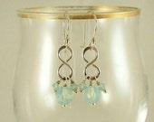 Swarovski Crystal Sea Opal Sterling Silver Dangle Earrings