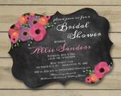 Ornate Die Cut Chalkboard & Watercolor Posies Custom Bridal Shower Invitation Design- or any occasion