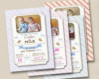 Cookies and Milk Custom Twins Birthday Party Photo Invitation Design- any age or single birthday