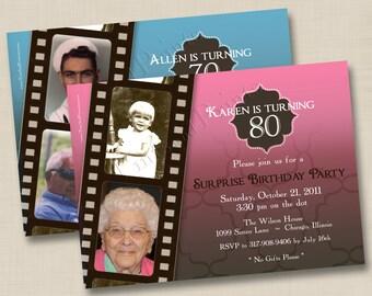 A Life in Film Milestone Birthday or Anniversary Party Custom Photo Invitation Design - any age
