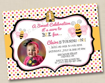 A Sweet Bumblebee Celebration Custom Birthday Party Invitation Design- any age