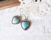 turquoise LOVE heart southwest earrings (silver)
