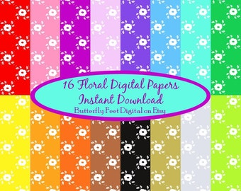 Floral Digital Paper, 16 colors, Instant Download, Scrapbooking, Card Making, Paper Craft