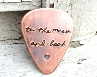Custom Guitar Pick in Copper - Personalized Gift for Wedding, Valentine's or Anniversary