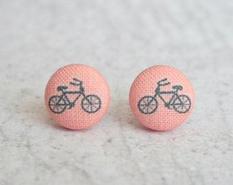 Pink Bikes Fabric Button Earrings
