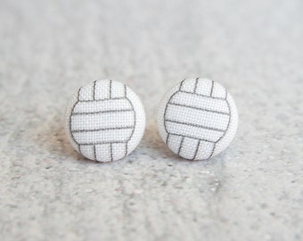 Volleyball, Fabric Covered Button Earrings