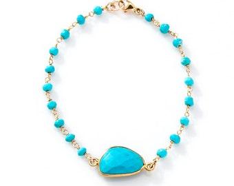 Turquoise Bezel Stone Bracelet with turquoise stone chain band - BG02