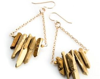 Metallic Gold Quartz Stone Fringe Earrings