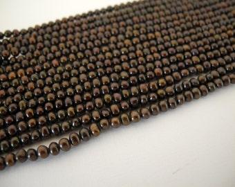 Earthy Dark Brown Freshwater Pearls 3.5mm Full Strand