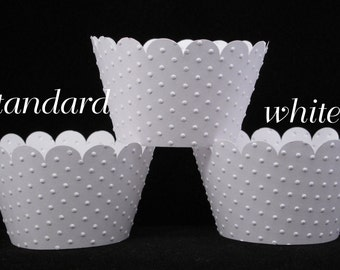 Wedding Embossed Cupcake Wrappers in White
