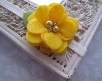 Chloe . stretch headband . felt flower . girls hair accessory . yellow