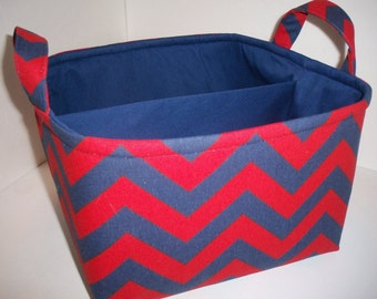 Large Diaper Caddy 10 x 10 x 7 / Organizer Bin / Red Navy Blue Chervon