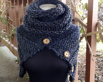 Hand knit super comfy cowl wrap scarf - Charcoal