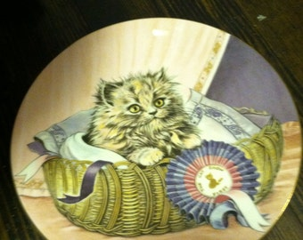 Vintage china cat plate first prize kitten classics royal Worcester  England