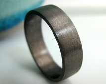 6mm wedding band, black gold plated over sterling silver, men's wedding band, black gold flat tube ring etsy, black gold ring for men