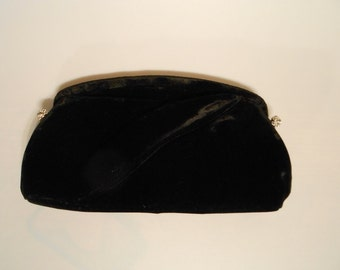 Let's Get This Party Started - Vintage 1950s Garay Black Velvet Clutch w/Pave Rhinestone Accents