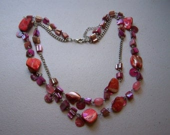 CLEARANCE Double Strand Mother of Pearl Pink Long Necklace