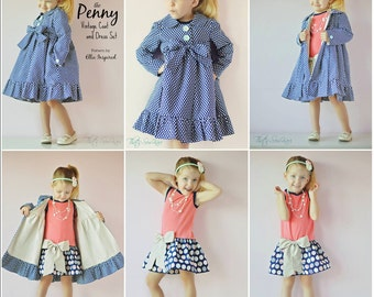 Penny Vintage Coat and Dress Pattern  - Ellie Inspired PDF Pattern - Size 1 - 16