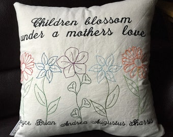 "26""x26"" Mother's Day Pillow Cover - Custom Embroidered Decorative Keepsake Pillow - Perfect Mother's Day Gift - Children Blossom  with love"